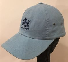 Peter Millar 100 Cotton Golf Hat Cap Blue Logo Strapback Adjustable  218290c5796f