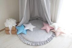 A personal favourite from my Etsy shop https://www.etsy.com/listing/565520398/light-grey-canopy-baldachin-bed-canopy