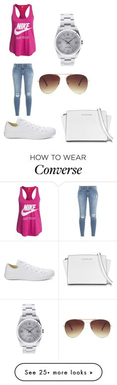 """Nike and convers lowe"" by senny-89 on Polyvore featuring NIKE, Frame Denim, Converse, Rolex, Forever 21 and Michael Kors"