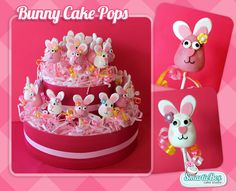 Pink and white bunny cake pops