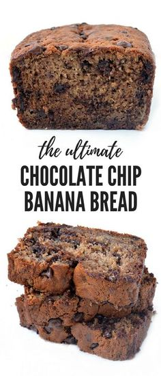 The BEST Chocolate Chip Banana Bread recipe! It's super soft and moist and loaded with chocolate chips. Recipe from sweetestmenu.com #banana #bread #chocolate