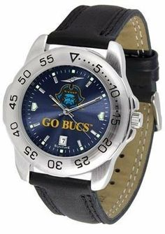 East Tennessee State Bucs Men's Leather Band Sports Watch by SunTime. $55.95. AnoChrome Dial Enhances Team Logo And Overall Look. Leather Band. Men. Officially Licensed ETSU Buccaneers Men's Leather Band Sports Watch. Adjustable Band. East Tennessee Bucs men's sports watch. This Buccaneers watch comes with a genuine leather strap. A date calendar function plus a rotating bezel/timer circles the scratch-resistant crystal. The scratch resistant face protects the watch fro...