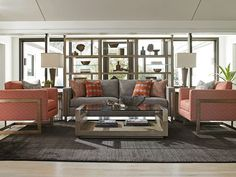 Midcentury Modern Living Room with Orange and Gray Color Palette from #LexingtonFurniture #ShadowPlay