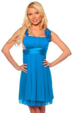 Amazon.com: Designer Gathered Empire Flowy Evening Prom Party Dress: Clothing