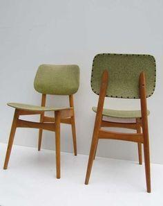 2 Retro vintage eetkamerstoelen, jaren 50 60 stoelen