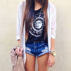 graphic tee, long cardigan, and denim shorts // anyone know where to get a cardigan like this? #helpmepinterest