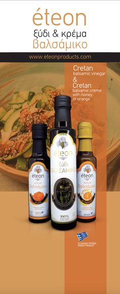 Eteon balsamic vinegar comes from sweet red grape must, that matures in wooden barrels together with Cretan herbs. These herbs, that have been hand-picked from the Cretan mountains give this balsamic vinegar the extraordinary Cretan flavor. Our balsamic creams with orange and honey are made of pure Cretan ingredients. This finest aromatic combination gives a delicious touch to every plate. Plastic Squeeze Bottles, Red Grapes, Balsamic Vinegar, Barrels, Olive Oil, Honey, Plate, Herbs, Nutrition