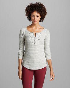 Women's Stine's Waffle Henley Shirt - Stripe