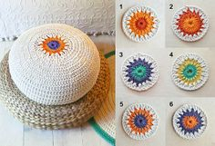 Floor Cushion Crochet ecru and colors by lacasadecoto on Etsy