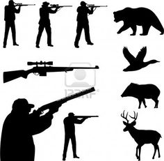 hunting collection silhouettes - vector Stock Photo - 4977652