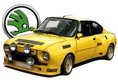 SKODA 130RS t-shirt. Classic car, rally legend. Very retro.