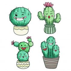 Linda expresión de cactus o cara kawaii Vector Premium Cactus Doodle, Cactus Art, Cactus Plants, Cactus Drawing, Plant Drawing, Kawaii Faces, Kawaii Art, Cartoon Drawings, Cute Drawings