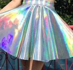 Amazing holographic skirt hope this counts as crazy fashion x Girly, Holographic Fashion, Mode Lolita, Diy Mode, Inspiration Mode, Gyaru, Kawaii Fashion, Mode Style, Pastel Goth