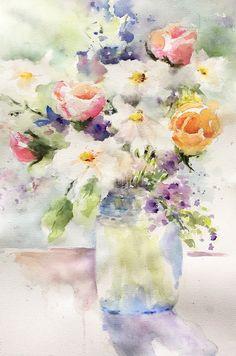"""""""Soft Bouquet"""", watercolor, 14 x 21""""."""