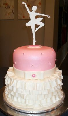 ballarina cake | Ballerina cake - Pink and white fondant c | Cakes for girls