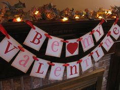 Valentine Banner (Directions: Stencil one letter onto each card.  Punch a hole in each of the 2 top corners of the card.  Lace a strand of ribbon thru the holes.)