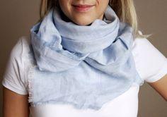 Summer linen scarf light blue spring gift idea by Europehandmade, $24.00