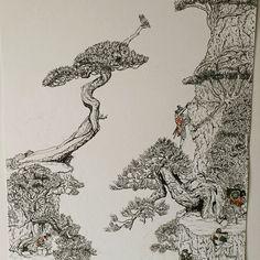 "Amazing artwork for all Japan, Samurai and Bonsai lovers. Please share! Yokai Art (@yokai_art) on Instagram: ""Old scroll Inspired work in pen and ink #penandink  #bonsai #samurai #japan  #art"""