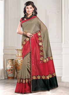 Dark Taupe Chanderi Cotton Saree