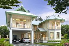 รูปบ้านในสมัยก่อนๆค่ะ Asian House, Thai House, Village House Design, Bungalow House Design, Building Design, Building A House, Cottage House Plans, Mediterranean Homes, Tropical Houses