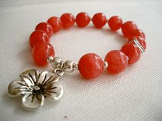 Poppy Red Beads with Flower Bracelet by bluewhitewear on Etsy,