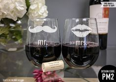 Stemless Wine Glasses - (Set of TWO) Mr. and Mrs. Wine Glasses - Christmas Gift - Couples Gift - Engagement - Bride and Groom Gift by LetsTieTheKnot on Etsy https://www.etsy.com/listing/207456577/stemless-wine-glasses-set-of-two-mr-and