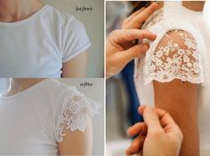 Camisetas Customizadas, blusinhas e abadás para carnaval 2019 Sewing Sleeves, Lace Sleeves, Remake Clothes, Sewing Clothes, Sewing Hacks, Sewing Crafts, Umgestaltete Shirts, Diy Vetement, Altering Clothes