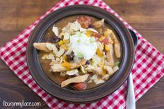 Chicken Tortilla Soup recipe via flouronmyface.com #crockpotfriday