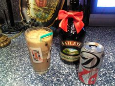 Bailys and diet coke. Make sure to pour coke first, then slowly pour bailys. It will foam a little but just throw a straw in a drink up. Fun Drinks, Yummy Drinks, Beverages, Baileys Drinks, Diet Coke, Pint Glass, Favorite Things, Fill, Shots