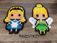 No Officiel Walt Disney Princess (Alice, Tinkerbell) Sprites Perler Beads Perler Bead Templates, Diy Perler Beads, Perler Bead Art, Hama Disney, Hamma Beads 3d, Peler Beads, Pixel Art, Hama Beads Patterns, Beading Patterns