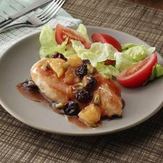 Chicken with Cherry Pineapple Sauce Recipe from Sally Maloney in Dallas, Georgia — from Healthy Cooking magazine