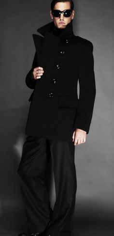Tom Ford | NAVY DOUBLE CASHMERE MILITARY PEACOAT