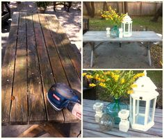 How Annie Sloan Chalk Paint saved my ugly picnic table.   I wanted the beachy driftwood look, so I sanded it down, stained it clear and then painted on Paris Gray chalk paint and wiped it off.  I am so happy with the results!