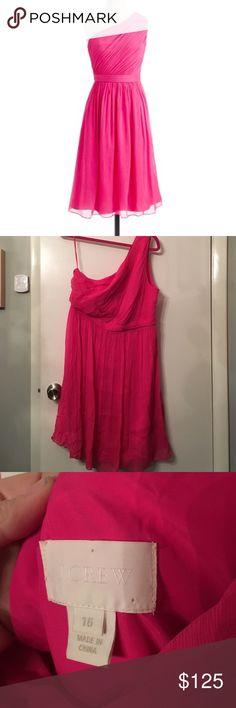 J. Crew Kylie silk chiffon dress In excellent condition J. Crew Dresses One Shoulder