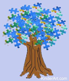 Puzzle Trees Lesson Plan: Recycling for Kids - Art on a Shoestring (Making art from recycled materials) KinderArt
