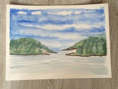 3 Mile Harbor in East Hampton Original ARTWORK Watercolor Painting Plein Air