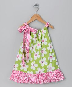 Take a look at this Lime Flower Dress - Infant, Toddler & Girls by Molly Pop Inc. on #zulily #fall today!