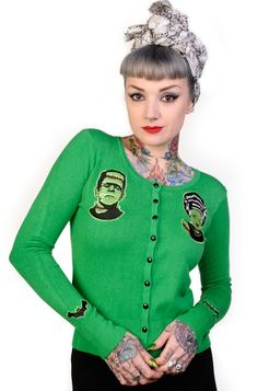 Banned Monsters Cardigan (Green), £22.99    http://www.attitudeclothing.co.uk/product_32463-68-2279_Banned-Monsters-Cardigan-%28Green%29.htm