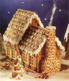 Fairytale Cottage--a gingerbread house frosted mini wheats and peanuts Gingerbread House Parties, Gingerbread Village, Christmas Gingerbread House, Noel Christmas, Christmas Goodies, Christmas Treats, Christmas Baking, Christmas Decorations, Gingerbread Dough