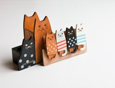 Wooden Cat Office Items - Because the digital picture frame full of cat photos just isn't enough.