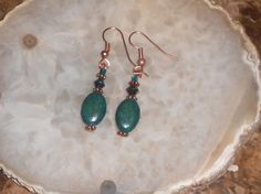 Handcrafted Chrysocolla and Crystal Pierced by TrendyCharm on Etsy, $8.00