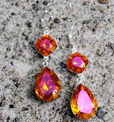 Orange Pink Earrings Swarovski Crystal Pear Dangle Earrings Tear Drop Earrings Gwenevere Mashugana