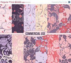 Floral #digital #scrapbook #paper Purple by DigitalCS #DIY #craft