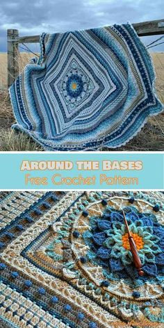 """Around-the-Bases blanket is a multi-stitch design that turns YOUR favourite center square into an afghan. It was originally released as a crochet along (CAL) with 16 """"innings"""" or stitch components. #freecrochetpatterns #crochetblanket #edging #borders"""