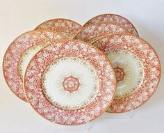 THE COLORS ARE JUST EXQUISITE AND VERY SOPHISTICATED ON THESE LOVELY PLATES WITH A WIDE BORDER OF CRIMSON AND A CENTER FIELD OF AN EGGNOG CREAM HUE. ~~~ ANTIQUE LIMOGES SET OF SIX DINNER PLATES ~~~. | eBay!