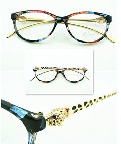 7c3ab9d348e Gold Leopard Designer Fashion Women Eyeglass Frame Glasses Eyewear Clear  Lens  9.99 Fun might breeak easily