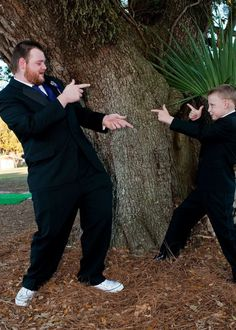 Groom and ring bearer pic. JT might not be old enough for this pose... :-/