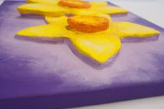 """""""2 Daffs"""" (close up view) 3D Acrylic Painting FOR SALE contact info@purplefaye.co.uk to buy or commission your own Canvas Size 12″x16″ (305mmx406mm) Image Depth 35mm"""