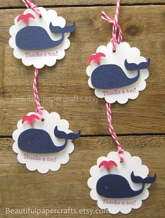 Pink and Navy Whale Tags, Whale baby shower, Whale1st Birthday.... set of 6 on Etsy, $5.50