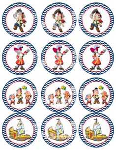 Printable Jake and the Neverland Pirates Party Circles Cupcake Toppers Favor Tags